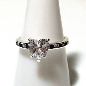 Ring Size 8 Simulated Diamond Sapphire Heart 523